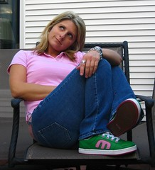 Back to school nite...  yes I wore my new sneaks... (JodyMcG) Tags: schoolgirl sk8ter ilovegreen jodymcg mycoolnewshoes yesiamateachersnightmare hahaiamnotaposerijustlikethesneakers