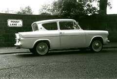 And on the corner is a banker with a motor car... (Rich007) Tags: uk england blackandwhite bw ford liverpool blackwhite gb beatle beatles seftonpark anglia pennylane 105e fordanglia liverpoolexceptional