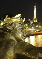 view from Alexander III bridge (*bratan*) Tags: bridge light paris france tower monument colors face yellow statue seine angel bronze night river gold nikon bravo searchthebest d70s eiffel alexanderiii magicdonkey outstandingshots abigfave anawesomeshot infinestyle bratanesque