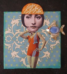 Flapper Bathing Beauty (HollyLovesArt) Tags: art girl beauty collage vintage mixed media crystals mini canvas bathing fornasetti