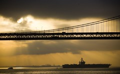 It's Doom Alone That Counts (Thomas Hawk) Tags: sanfrancisco california city bridge usa topf25 silhouette sunrise ship unitedstates searchthebest 10 unitedstatesofamerica navy fav20 baybridge aircraftcarrier fav30 fav10 fav25 superfave