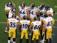 Pittsburgh Steelers Huddle (rianklong) Tags: geotagged football pittsburgh sandiego qualcomm stadium nfl 2006 explore steelers huddle chargers canons3