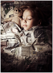 Sleeping (magnusmagnus) Tags: bear light sleeping cute sepia night eyes closed child teddy sleepingbeauty kardemommeby