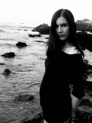 Just a moment III (Raven Feather Photography) Tags: ocean portrait blackandwhite white black beach northerncalifornia grey coast gray scenic grayscale rugged greyscale sprayofpetals machinegunbang pappajessicafresh