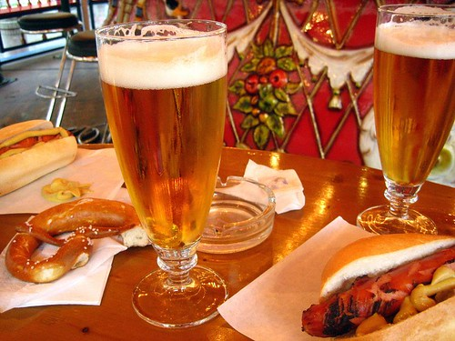 Beer, Pretzels, and Sausages.  German enough?