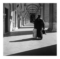 Loreto (AN), Italy - March '18 (Pietro Bevilacqua) Tags: 110 100 124 2018 80 fomadon fomapan loreto lqn marzo mat yashica preist confessions arch contrast film analogue 120 street photography monochrome black white blackandwhite filmisnotdead grainisgood believeinfilm darkroom ordinarylife squareformat streetlife lemarche marche italy basilica church