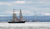 Mercedes! (RiverCrouchWalker) Tags: mercedes tallship sailingship windfarm cranes riverthames essex southendonsea countyofessex