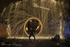 The god of hell and fire (garry q) Tags: wirewool flames sparks circle pose fire night urbex lightpaint graffiti
