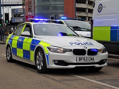 West Midlands Police BMW 330d Traffic Car (OPS37) BF63 CNA, Birmingham City Centre. (Vinnyman1) Tags: west midlands police car bmw 330d ops37 bf63 cna road traffic policing wmp rpu roads unit anpr automatic number plate recognition cctv closed circuit television enabled emergency services service rescue 999 birmingham england uk united kingdom gb great britain force city centre fla football lads alliance dfla democratic far right demonstration demo march protest tommy robinson