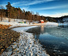 Winterscape, Norway (Vest der ute) Tags: xt2 norway akershus sea fjord seascape landscape water house trees snow ice winter sky clouds rocks reflections fav200