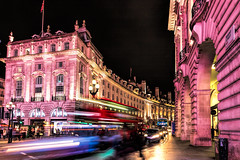 Regent Street from Piccadilly Circus, London (Aethelweard) Tags: london england unitedkingdom gb city urban timeexposure building architecture victorian bus motionblur piccadilly westend