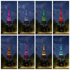 The Colors of Black Mountain (Telstra) Tower - Acton - ACT - Australia - 20180324 @ 06:28 to 06:30 (MomentsForZen) Tags: night montage orange yellw cyan magenta pink blue red green trees clouds sky lights bluehour telstra telstratower blackmountain tower x1d hasselblad mfz momentsforzen