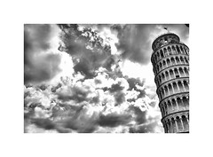 A bit of a lean on ! (CJS*64) Tags: pisa city travel traveling cjs64 craigsunter cjs nikon d7000 dslr nikond7000 blackwhite bw blackandwhite whiteblack whiteandblack mono monochrome tower sky tuscany