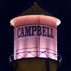 Campbell water tower, always there (PeterThoeny) Tags: campbell sanjose california siliconvalley sanfranciscobay sanfranciscobayarea southbay tower watertower pink night sony sonya6000 a6000 sel55210 1xp raw photomatix hdr qualityhdr qualityhdrphotography fav100