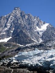 Glacier des Bossons and cable car l'Aiguille du Midi. (elsa11) Tags: glacier gletscher gletsjer glacierdesbossons aiguilledumidi montblancmassif montblanc alps alpes alpen mountains hautesavoie cablecar france frankrijk