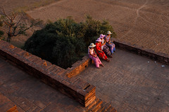 Bagan, Myanmar (jaumescar) Tags: mandalayregion bagan myanmar burma burmese women traditional dress group people tourist temple color street outdoor old geometry hat countryside