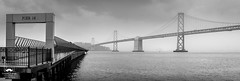 A Rainy Day on the Bay (allentimothy1947) Tags: sanfrancisco weather baybridge foul interior wet panoramic pano bridge rain bay sanfranciscobay pier rainy blackandwhite bw cloud cloudy photography travel california treasureisland