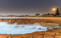 Daybreak Seascape with Full Moon (Merrillie) Tags: daybreak sunrise morning northavoca nature water rocks fullmoon moon centralcoast pinetrees newsouthwales waves earlymorning nsw sea avocabeach ocean rocky landscape northavocabeach coastal waterscape sky seascape australia coast dawn outdoors
