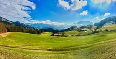 Panorama near Oberaudorf, Bavaria, Germany (UweBKK (α 77 on )) Tags: landscape scenery scene scenic panorama view alps mountains green fields grass trees sky blue white kiefersfelden oberaudorf bavaria bayern germany deutschland europe europa iphone