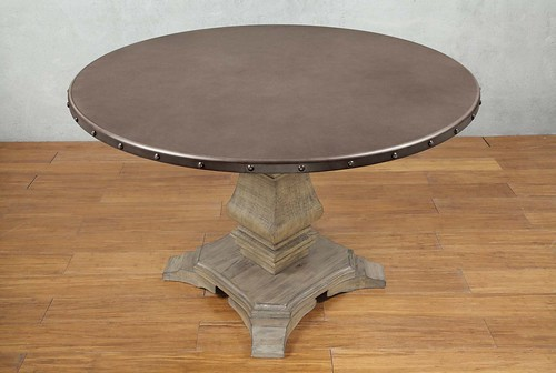 Zinc Top Round Dining Table Furniture