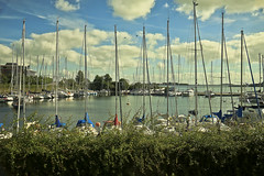 A9943COPENb (preacher43) Tags: copenhagen denmark sky clouds water sea cove bay boats yachts masts trees shrubs building architecture history