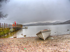 Let's Row to the Next Adventure in Life (RS400) Tags: lake district cool wow amazing rain raining travel olympus water landscape boat boats jetty stones beach sky clouds uk north west hdr