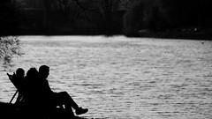 resting (Darek Drapala) Tags: rest resting bw blackwhite blackandwhite reflection reflects dark evening nature panasonic poland polska panasonicg5 park people lumix light warsaw warszawa water waterscape silhouette