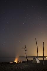 Bivouac (BadGunman) Tags: cliff coast phare leucate aude france cool canon calm quiet ocean sea sand camp nuit stars campfire fire longexposure night beach tente bivouac