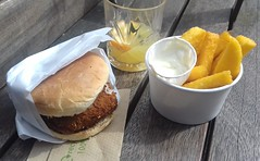 Tokyo Tofu Burger, with Miso Mushroom Ragu and Pickled Daikon & Polenta Chips with Lemon, Garlic Mayo (Tony Worrall) Tags: add tag ©2018tonyworrall images photos photograff things uk england food foodie grub eat eaten taste tasty cook cooked iatethis foodporn foodpictures picturesoffood dish dishes menu plate plated made ingrediants nice flavour foodophile x yummy make tasted meal nutritional freshtaste foodstuff cuisine nourishment nutriments provisions ration refreshment store sustenance fare foodstuffs meals snacks bites chow cookery diet eatable fodder altrincham altrinchammarket polentachipswithlemon garlicmayo tokyotofuburger withmisomushroomraguandpickleddaikon bun burger bread fastfood streetfood