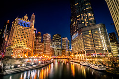 Chicago Skyline from the Chicago River (pauliefred) Tags: city skyline water lake river longexposure dusk night bluehour buildings architecture chicago illinois unitedstates