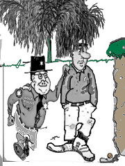 Golf Cheat Caught !!! (Mike Pesseackey (UAGUY1)) Tags: fun humor drawing cartoon 1960s golf cheat