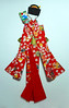 Tall doll in red (tengds) Tags: japanesepaperdoll ningyo paperdoll origamidoll washidoll kimono red white flowers fans obi olivegreen stripes gold battledore nailartsticker papercraft tengds