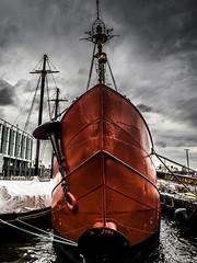 The Ambrose Lightship (C@mera M@n) Tags: anchor boat city clouds jonesbeach manhattan ny nyc newyork newyorkcity newyorkcityphotography newyorkphotography places rain red ship sky urban water outdoors