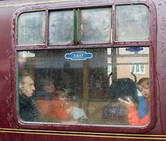 Captive Audience (Wendy G Davies) Tags: condensation rain children people efs24mm canon7dmark2 colour retro vintage steam carriage train