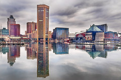 Baltimore Harbor Reflections (zuni48) Tags: baltimore maryland cityscape city architecture landscape clouds urban harbor reflections