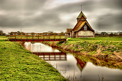 Church in the middle of nowhere (Croydon Clicker) Tags: church anglican medieval marsh grass ditches clouds water reflection bridge reeds 1000v40f