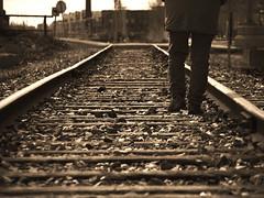 marcher - balade le long de la track (photosgabrielle) Tags: photosgabrielle traintracks cheminfer monochrome sepia people montréal petitebourgogne urbain urban