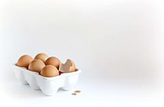 You crack me Up! (Through Serena's Lens) Tags: whitebackground highkey 7dwf crazytuesdaytheme negativespace speckles brown eggtray eggs stilllife