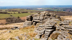 Belstone Tor panorama (Keith in Exeter) Tags: panorama landscape belstone tor dartmoor moorland farmland grass rock nationalpark devon photomerge tree woodland