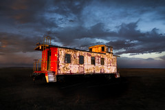 Caboose at Sunset (Tom Herlyck) Tags: sunset colorado landscape train caboose history lens exposure sky abandoned clouds old southerncolorado neglected weather railroad flickr southeasterncolorado pueblocounty