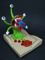 The Care and Feeding Of Florathulhu** (Karf Oohlu) Tags: lego moc minifig woody florathulhu vignette horror carnivorousplant eating