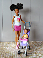 Sisters (Deejay Bafaroy) Tags: barbie skipper babysitters mattel doll puppe black pink rosa yellow gelb portrait porträt 16 scale playscale miniature miniatur purple violet violett lila buggy kinderwagen child kind girl mädchen madetomove mtm