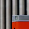 Sensore arancione e linee. Orange sensor and lines ( ambienti urbani/urban environments) (sandroraffini) Tags: abstract reality linee geometry urban exploration orange sensor sensore detail fragments ambiente environment parkinglot canon eos80d 70200 sandroraffini bologna minimalismo minimalism forme shapes