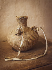 Water Vessel (Tom Kilroy) Tags: oldfashioned woodmaterial brown old cultures craft rustic antique singleobject backgrounds basket burlap vase wicker jug decoration stilllife nopeople table newmexico