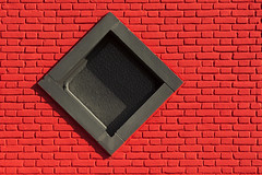 Red wall and black window (Jan van der Wolf) Tags: map183167v window raam wall muur bricks bakstenen ruit facade gevel black zwart red redrule rood simple simpel