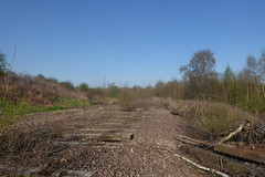 Old railway trackbed at Catcliffe, Sheffield  (former Rotherham spur line)   April 2018 (dave_attrill) Tags: catcliffe sheffield railway line disused trackbed remains goods sdr sleepers abandoned spur connection rotherham junction ballast april 2018 sheffielddistrictrailway southyorkshire