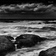 (Masako Metz) Tags: ocean sea waves rocks nature landscape seascape sky clouds oregon coast pacific northwest usa america outdoor blackandwhite monochrome texture square format