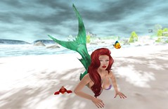 First time on land (liloneladybug) Tags: catwa catya deetalez maitreya art photography fashion screenshot slhairstyle pose mesh bento people 3d fairhaven portrait secondlife truth mermaid little ariel redhead sebastian flounder