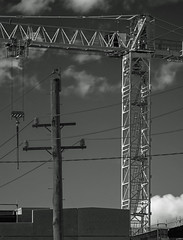 Sky lines (OzzRod (on the road again)) Tags: pentax k1 smcpentaxk200mmf4 sky lines crane gantry wires powerpole singleinmay2018 monochrome blackandwhite