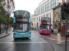 Blue & Pink, Belfast, 11/09/17 (aecregent) Tags: belfast 110917 translink translinkmetro translinkairportexpress airportexpress metro volvo b5tl wright gemini3 2114 fgz3114 2108 fgz3108 300a 9b